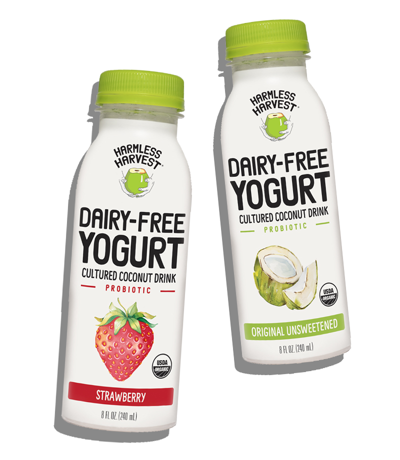 Two Harmless Harvest Dairy-Free Yogurt Drink 8oz bottles, strawberry & original unsweetened flavors